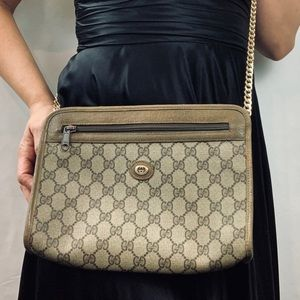 Vintage GUCCI Bag with Chain & Nylon Web Strap